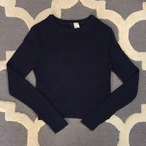 Cropped Navy Blue Sweater